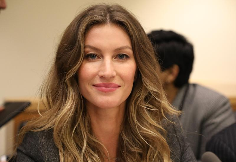 In this file picture taken on September 19, 2017 Brazilian supermodel Gisele Bundchen looks on during a meeting of the Global Pact for the Environment at the United Nations headquarters in New York