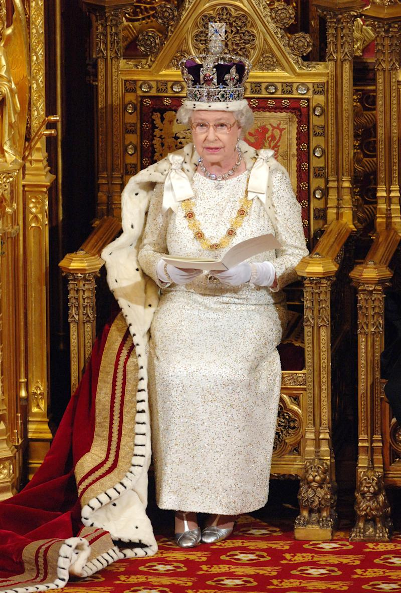 Queen Elizabeth ll reads the her speech at the State Opening of Parliament on November 15, 2006 in London, England.