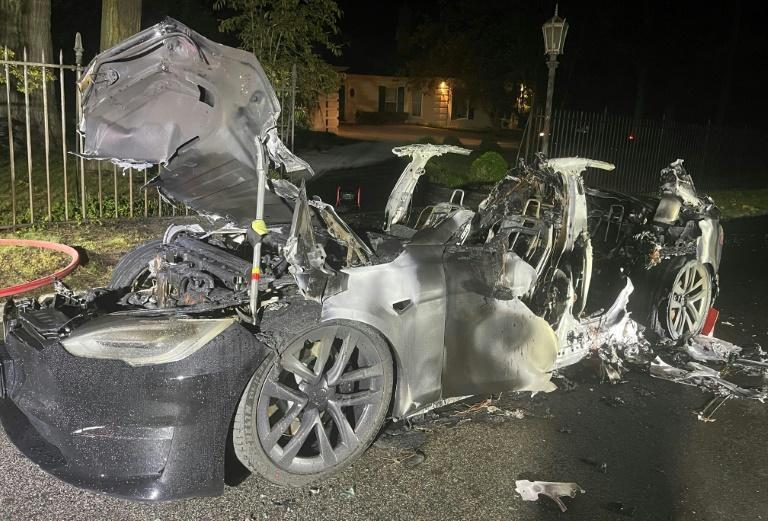 This handout image released by law firm Geragos & Geragos shows the charred remains of a Tesla Model S Plaid after it caught fire in a suburb of Philadelphia, Pennsylvania, on June 29, 2021