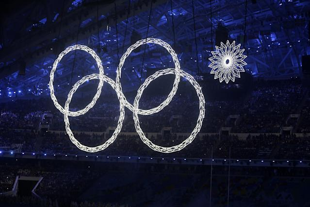 One of the rings forming the Olympic Rings fails to open during the opening ceremony of the 2014 Winter Olympics in Sochi, Russia, Friday, Feb. 7, 2014. (AP Photo/Mark Baker)
