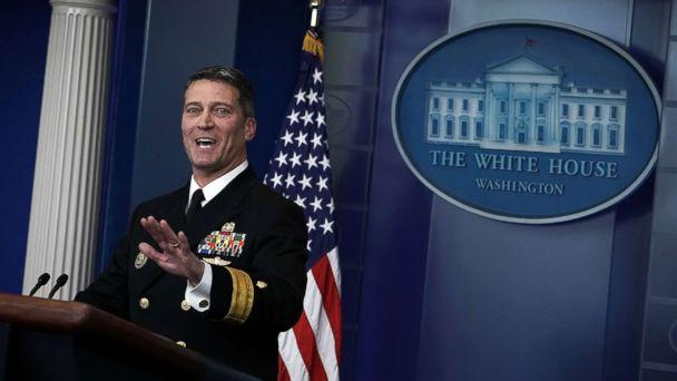 PHOTO: Physician to President Donald Trump, Dr. Ronny Jackson speaks during the daily White House press briefing at the James Brady Press Briefing Room of the White House, Jan. 16, 2018, in Washington. (Alex Wong/Getty Images)