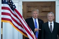 James Mattis (R), to be secretary of defense, was the second retired general to be picked for the cabinet by President-elect Donald Trump (AFP Photo/Drew Angerer)