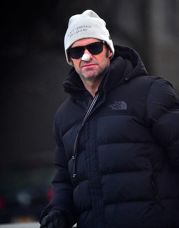 Hugh rugged up in the cooler New York conditions. Source: Getty