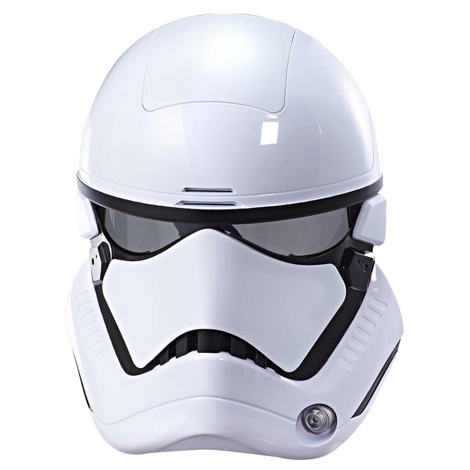 """<p>""""Pretend to battle as a First Order Stormtrooper with this electronic mask that amplifies your voice with the push of a button! Imagine marching alongside the First Order with this iconic mask from <em>Star Wars: The Last Jedi</em>."""" $34.99 (Photo: Hasbro) </p>"""