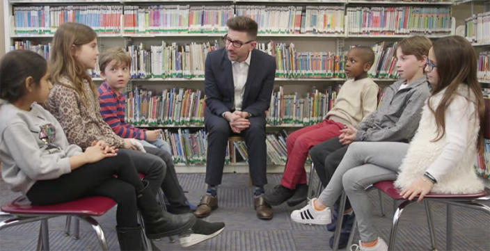 Marc Brackett, director of the Yale Center for Emotional Intelligence, talks with students who are part of the RULER social-emotional learning program. (Yale Center for Emotional Intelligence)