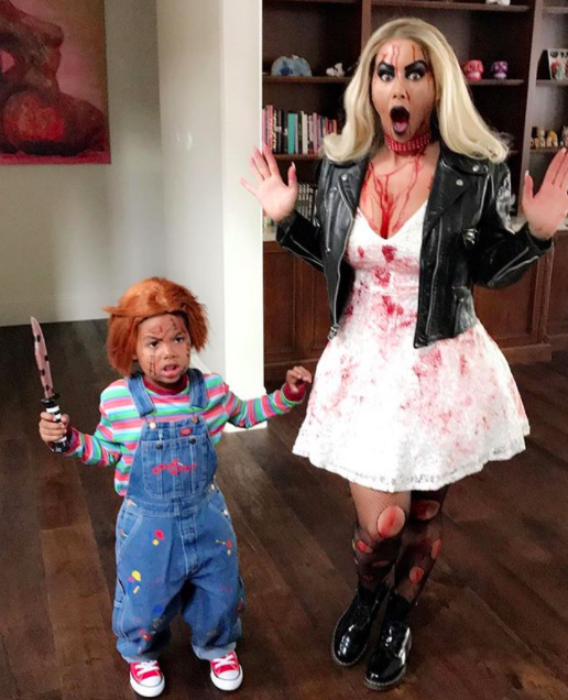 """<p>The model was songstress Tiffany while her son, Sebastian, was Chucky, making the whole thing a bloody mess. (Photo: <a rel=""""nofollow noopener"""" href=""""https://www.instagram.com/p/Ba7gRqnhU3j/?hl=en&taken-by=amberrose"""" target=""""_blank"""" data-ylk=""""slk:Amber Rose via Instagram"""" class=""""link rapid-noclick-resp"""">Amber Rose via Instagram</a>)<br><br></p>"""