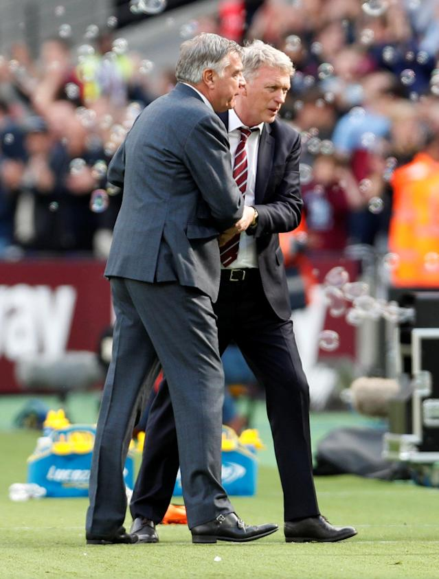 "Soccer Football - Premier League - West Ham United vs Everton - London Stadium, London, Britain - May 13, 2018 West Ham United manager David Moyes and Everton manager Sam Allardyce after the match Action Images via Reuters/Paul Childs EDITORIAL USE ONLY. No use with unauthorized audio, video, data, fixture lists, club/league logos or ""live"" services. Online in-match use limited to 75 images, no video emulation. No use in betting, games or single club/league/player publications. Please contact your account representative for further details."