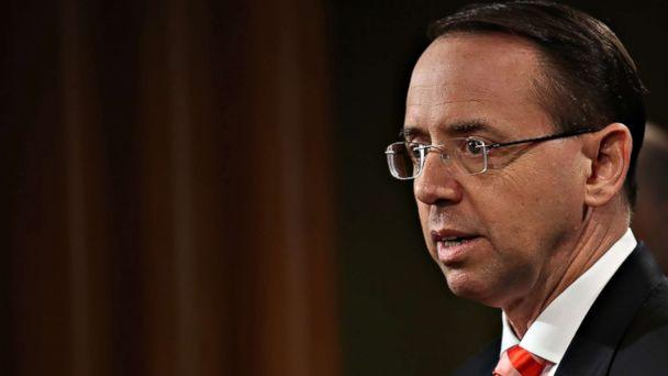 PHOTO: Deputy Attorney General Rod Rosenstein speaks at a press conference at the Department of Justice on March 23, 2018 in Washington, DC. (File-Win McNamee/Getty Images)