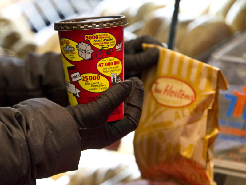 February 22, 2011-TIM HORTONS-Stock photos from inside Tim Hortons Coffee Shop at 56 Wellesley Street in Toronto. Tim Hortons launches its 25th annual Roll Up the Rim to Win contest Tuesday February 22, 2011. Tara Walton/Toronto Star. (Photo by Tara Walton/Toronto Star via Getty Images)