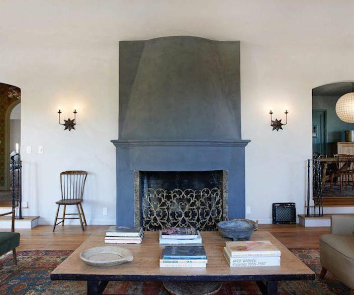 Lovely Los Feliz living room renovation from Ashley Tisdale's Frenshe Interiors, complete with a fireplace by Michael Tisdale.