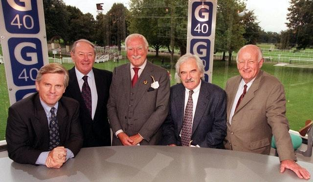 Steve Ryder, David Coleman, Peter Dimmock, Des Lynam and Frank Bough during a celebration for the 40th anniversary of Grandstand
