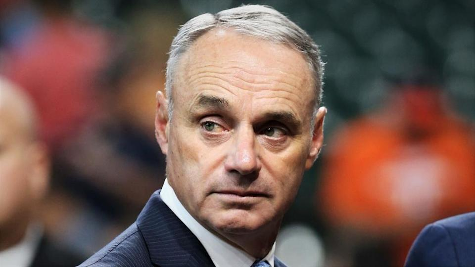 MLB commissioner Rob Manfred looks on before game two of the 2019 World Series between the Houston Astros and the Washington Nationals