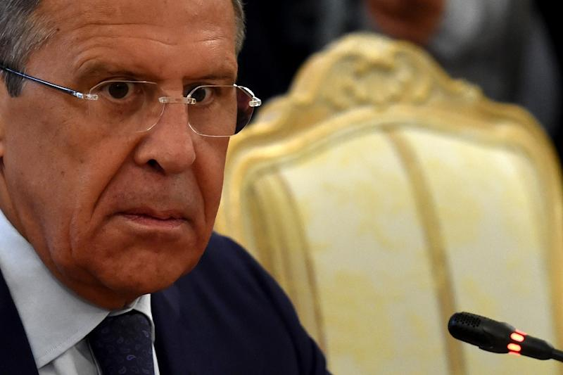 Russian Foreign Minister Sergei Lavrov reacts during a meeting with his Iranian counterpart in Moscow on August 17, 2015
