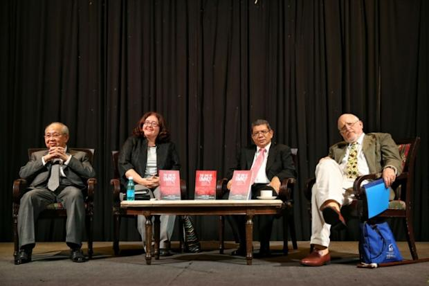 Tengku Razaleigh Hamzah (far left) is pictured during 'The End of Umno?' book launch at the Royal Lake Club, Kuala Lumpur October 24, 2016. — Picture by Saw Siow Feng