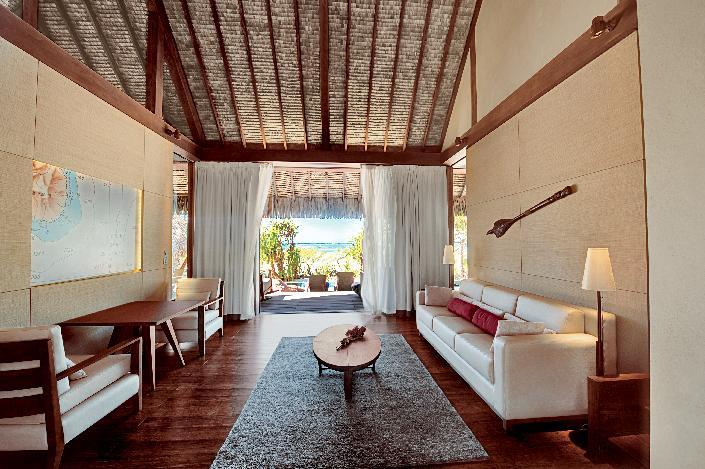 Each of the 35 deluxe villas comes with its own private beach and plunge pool, and is designed to reflect Polynesian culture while also offering the modern conveniences of wifi, flat screen TVs, and king-size beds.