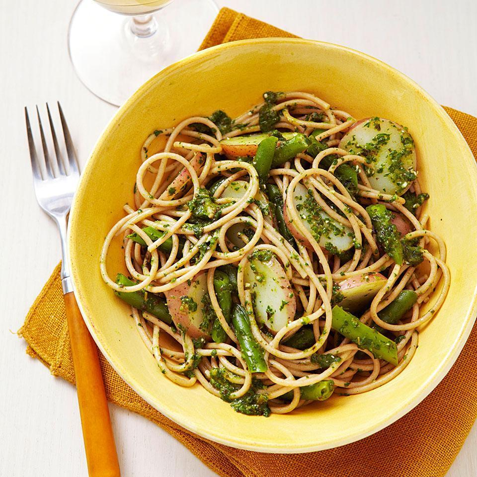 <p>Traditionally, this Italian pasta recipe combines pasta and pesto with potatoes and green beans. In our recipe for Spaghetti Genovese we give pesto a nutritional boost by adding spinach and toss it all together with fiber-rich whole-wheat pasta for a warm, comforting weeknight meal. Serve with escarole and radicchio salad.</p>
