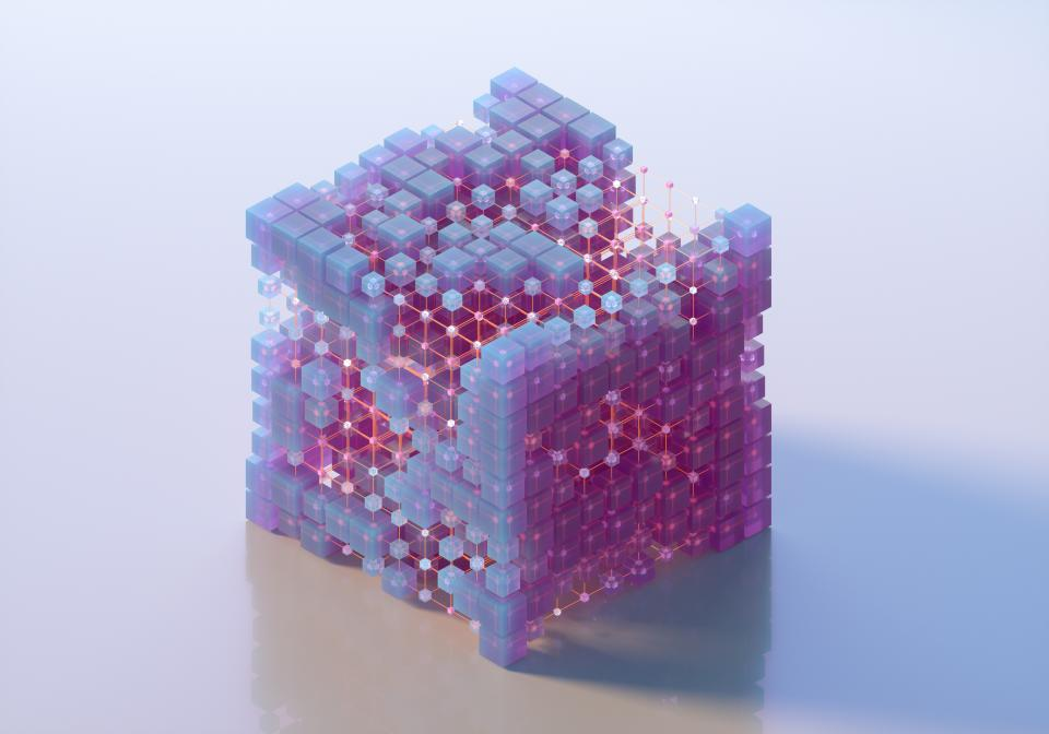 Digital generated image of glowing semi transparent purple cubes connecting with other cubes and forming big net cubic shape on light purple background.
