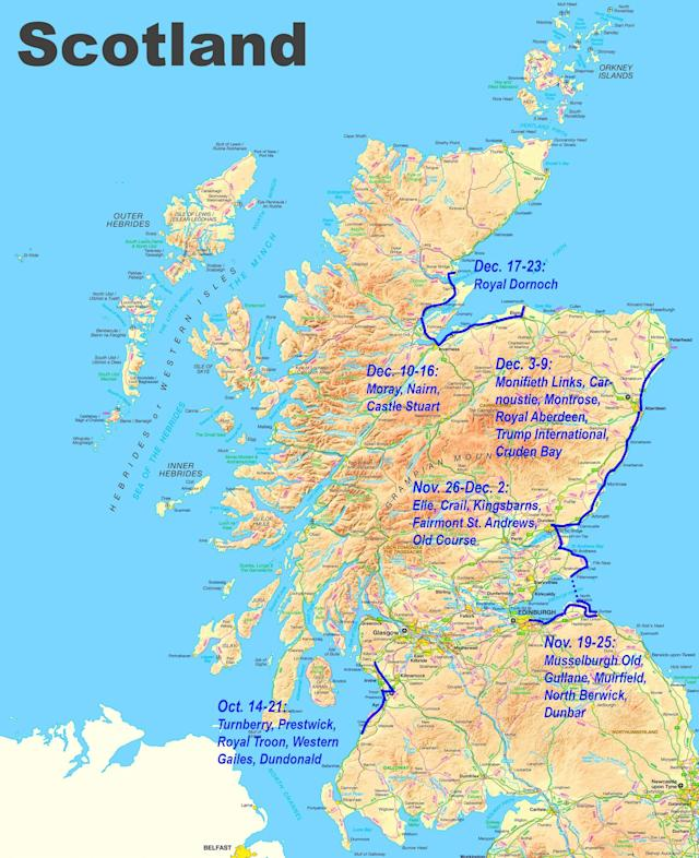"<div class=""caption""> The courses that Edmund visited on his Scotland journey. </div>"