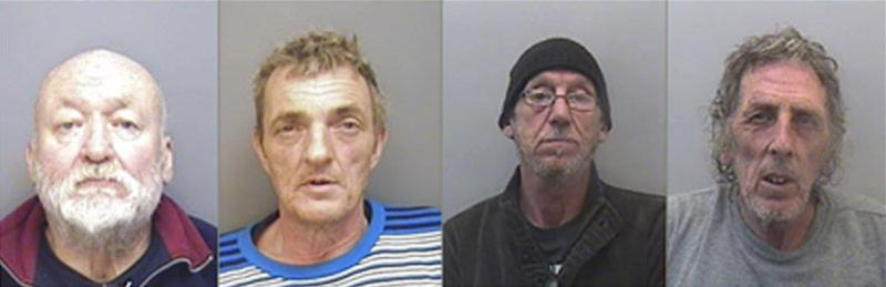 Left to right: Frank Walling, 72, from Colne, Glen Bennett, 55, from Burnley, Keith Plummer, 63, and Jon Ransom, 63, from Kent, have been jailed for smuggling 29 Vietnamese people into Britain (PA)