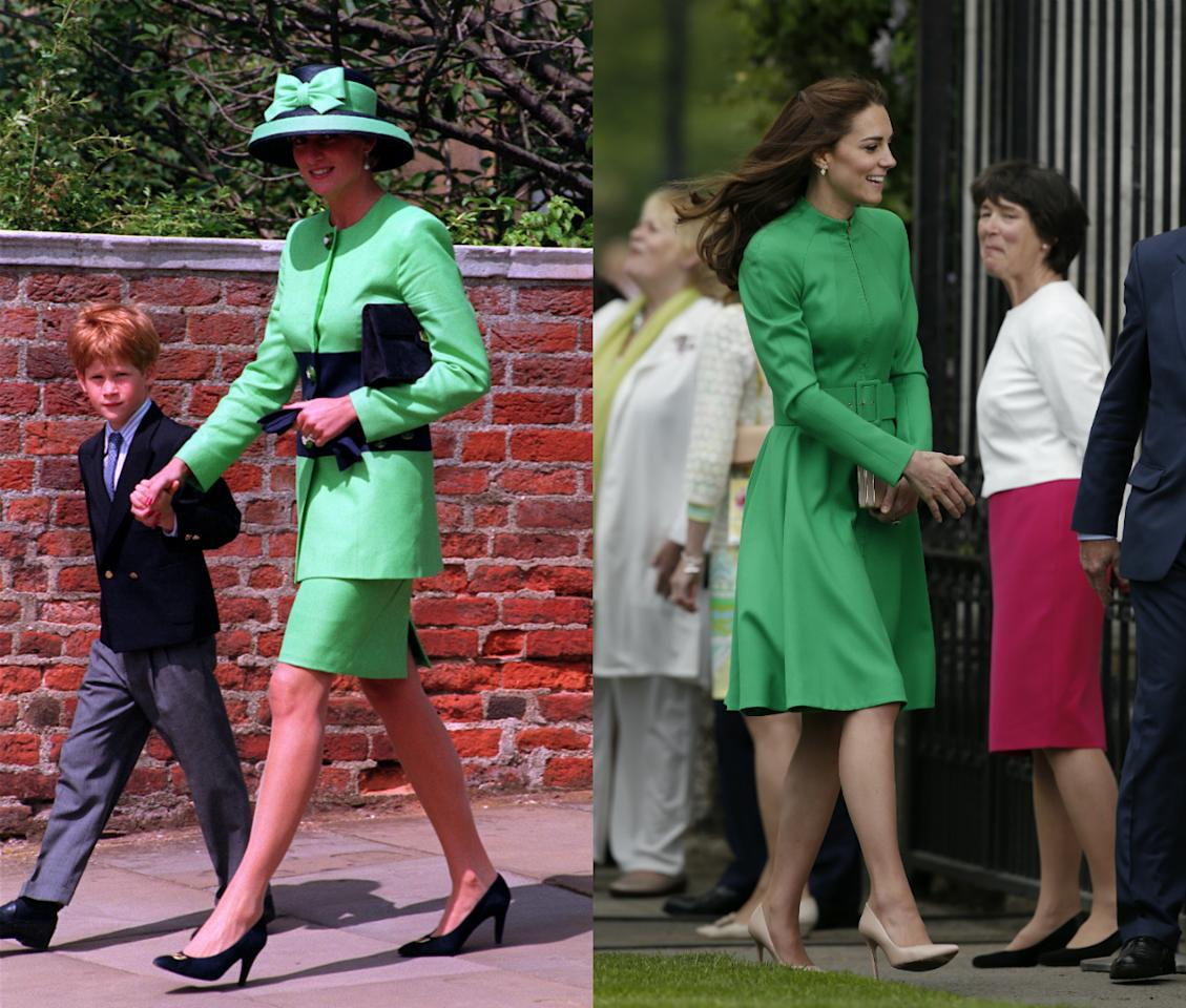 <p>Kate wore an emerald green design by Catherine Walker to the 2016 Chelsea Flower Show. It seemed to be a modern twist on Diana's suit in 1992. [Photo: PA/ Getty] </p>