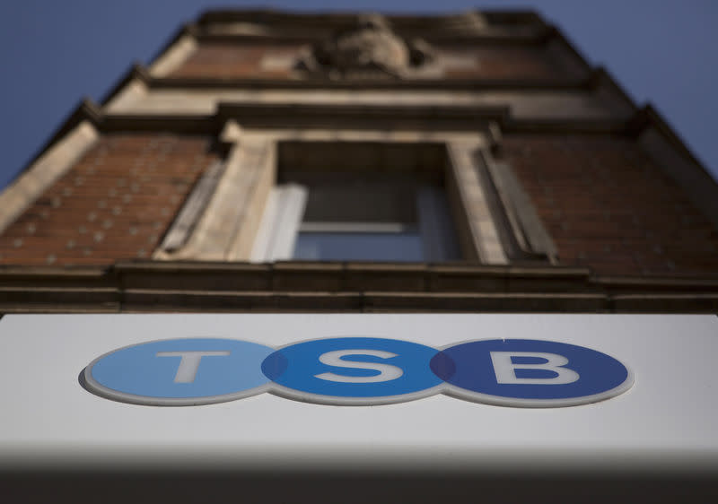 A sign is displayed outside a branch of the TSB bank in central London