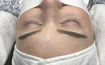 <p>This is what my eyelashes looked like completely bare, right before the artist put me under the machine. She made sure my eyes were squeaky clean before the extensions were applied.</p>
