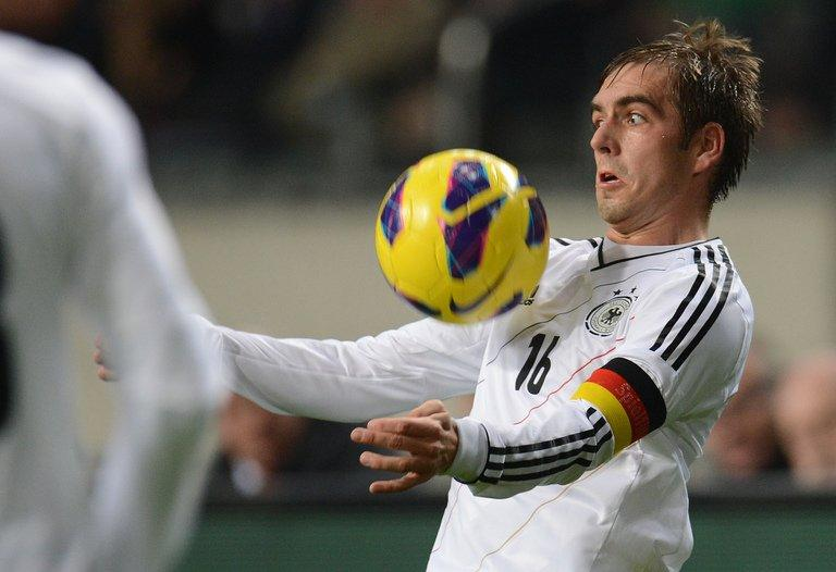 Philipp Lahm controls the ball on November 14, 2012 in Amsterdam