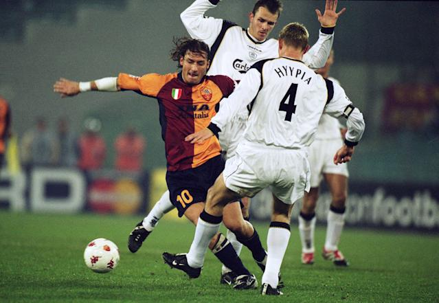 Francesco Totti in action for Roma against Liverpool in 2001