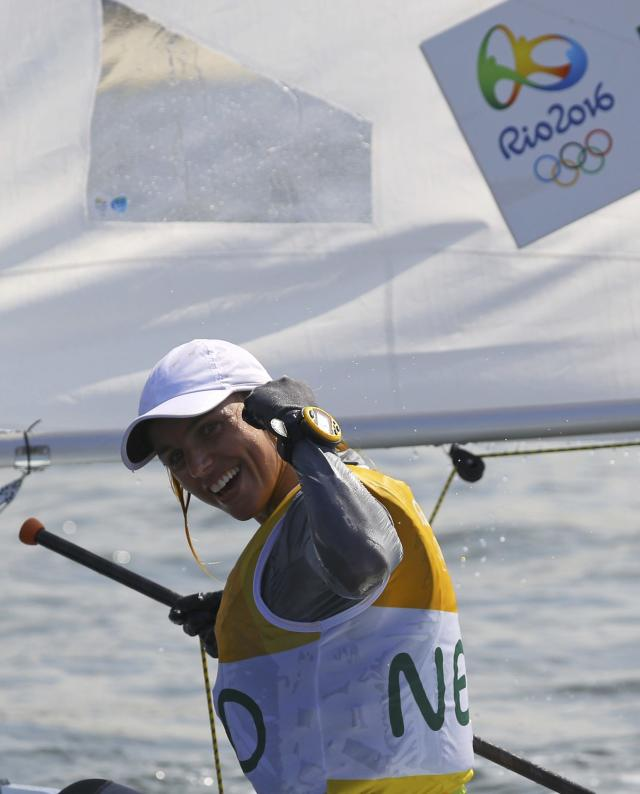 2016 Rio Olympics - Sailing - Final - Women's One Person Dinghy - Laser Radial - Medal Race - Marina de Gloria - Rio de Janeiro, Brazil - 16/08/2016. Marit Bouwmeester (NED) of Netherlands celebrates gold medal. REUTERS/Brian Snyder FOR EDITORIAL USE ONLY. NOT FOR SALE FOR MARKETING OR ADVERTISING CAMPAIGNS.