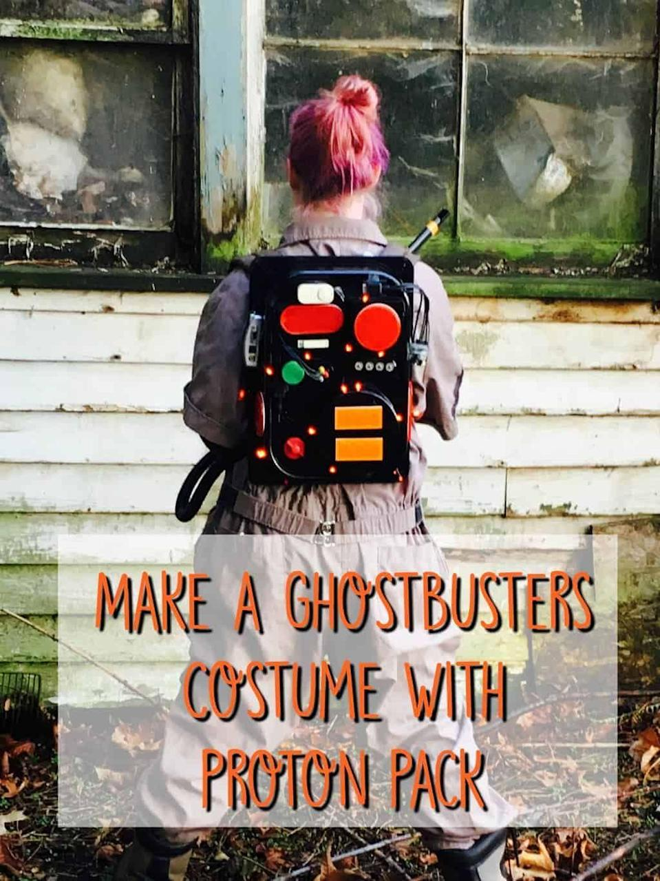 """<p>Who you gonna call? Ghostbusters! But where would a ghostbuster be without his or her trusty proton pack? This tutorial teaches you how to DIY a ghost capturer to go with your tan jumpsuit. </p><p><strong>See more at <a href=""""https://www.craftylittlegnome.com/ghostbusters-costume-tutorial-walmart-family-mobile/"""" rel=""""nofollow noopener"""" target=""""_blank"""" data-ylk=""""slk:Crafty Little Gnome"""" class=""""link rapid-noclick-resp"""">Crafty Little Gnome</a>.</strong></p><p><a class=""""link rapid-noclick-resp"""" href=""""https://go.redirectingat.com?id=74968X1596630&url=https%3A%2F%2Fwww.walmart.com%2Fip%2FGhostbusters-Peter-Venkman-Adult-Halloween-Costume%2F10153581&sref=https%3A%2F%2Fwww.thepioneerwoman.com%2Fholidays-celebrations%2Fg32645069%2F80s-halloween-costumes%2F"""" rel=""""nofollow noopener"""" target=""""_blank"""" data-ylk=""""slk:SHOP GHOSTBUSTERS JUMPSUIT"""">SHOP GHOSTBUSTERS JUMPSUIT</a></p>"""