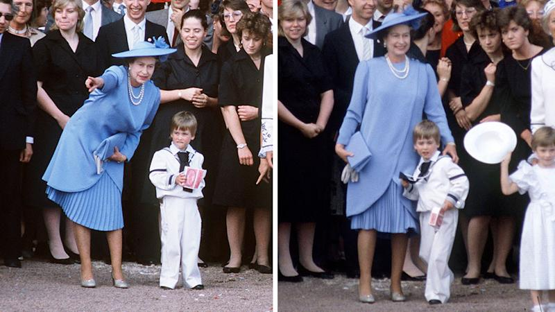queen elizabeth II watches prince william on wedding for duke and duchess of york in 1986