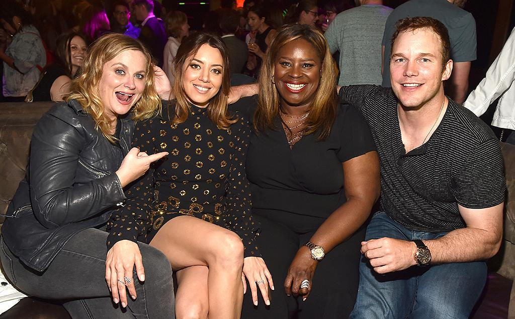 <p>It was a <i>Parks and Recreation</i> reunion when the gang reassembled to support Plaza at the premiere afterparty for her new movie, <i>Ingrid Goes West</i>. (Photo: Alberto E. Rodriguez/Getty Images) </p>