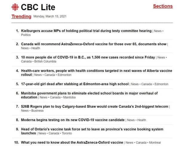 Here's an example of the CBC Lite version of our website. Simple. Just the news.