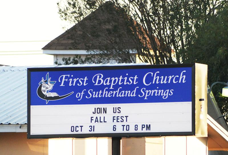 A sign at the First Baptist Church.