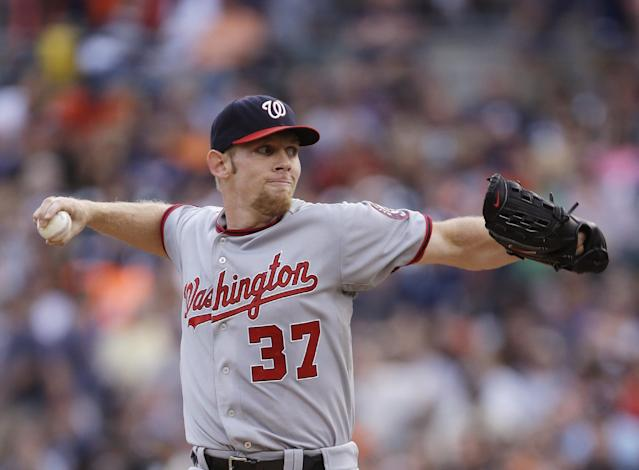 Washington Nationals starting pitcher Stephen Strasburg throws during the first inning of a baseball game against the Detroit Tigers in Detroit, Tuesday, July 30, 2013. (AP Photo/Carlos Osorio)