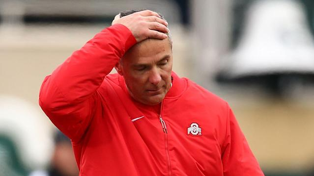 Urban Meyer has not looked well on the sidelines of Ohio State games this season. (Getty Images)