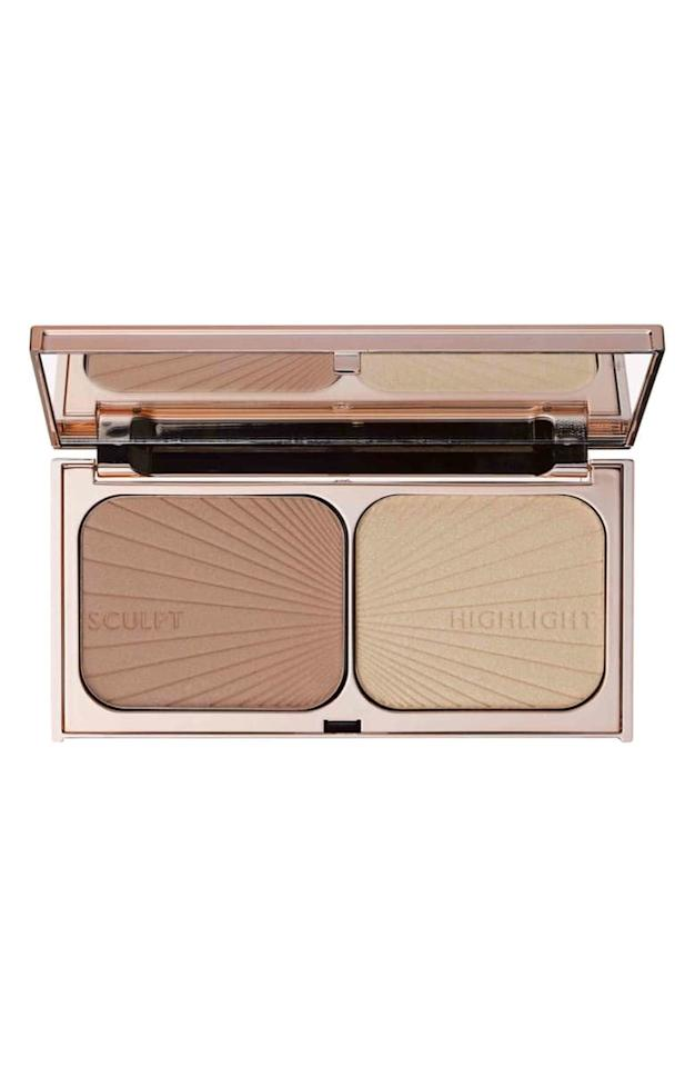 "<p>The pearly pigments inside the <a href=""https://www.popsugar.com/buy/Charlotte-Tilbury-Filmstar-Bronze-amp-Glow-Contour-Duo-500281?p_name=Charlotte%20Tilbury%20Filmstar%20Bronze%20%26amp%3B%20Glow%20Contour%20Duo&retailer=shop.nordstrom.com&pid=500281&price=68&evar1=bella%3Aus&evar9=36773319&evar98=https%3A%2F%2Fwww.popsugar.com%2Fphoto-gallery%2F36773319%2Fimage%2F46747944%2FCharlotte-Tilbury-Filmstar-Bronze-Glow-Contour-Duo&list1=makeup%2Cbeauty%20products%2Cbeauty%20tips%2Cmakeup%20palettes&prop13=api&pdata=1"" rel=""nofollow"" data-shoppable-link=""1"" target=""_blank"" class=""ga-track"" data-ga-category=""Related"" data-ga-label=""https://shop.nordstrom.com/s/charlotte-tilbury-filmstar-bronze-glow-contour-duo/3849059?origin=keywordsearch-personalizedsort&amp;breadcrumb=Home%2FAll%20Results%2FBeauty%20%26%20Grooming&amp;color=none"" data-ga-action=""In-Line Links"">Charlotte Tilbury Filmstar Bronze &amp; Glow Contour Duo</a> ($68) will subtly sculpt your face and give you a luminous glow.</p>"