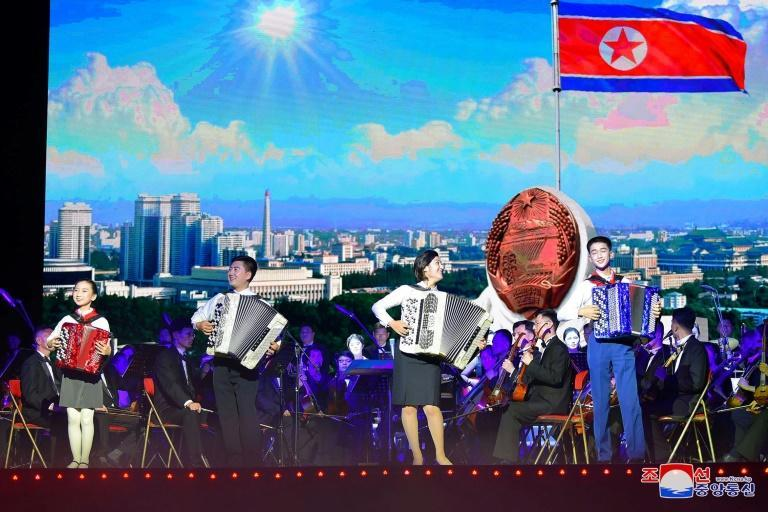 A performance to mark the 76th anniversary of the Workers' Party of Korea, at Pyongyang Circus Theater (AFP/STR)