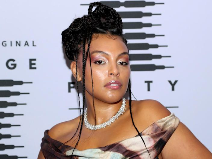 Paloma Elsesser on the red carpet at the 2020 Fenty fashion show.