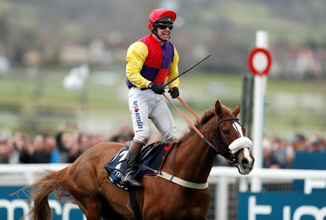 Horse Racing - Cheltenham Festival - Cheltenham Racecourse, Cheltenham, Britain - March 16, 2018 Richard Johnson on Native River celebrates winning the 15.30 Timico Cheltenham Gold Cup Chase Action Images via Reuters/Matthew Childs