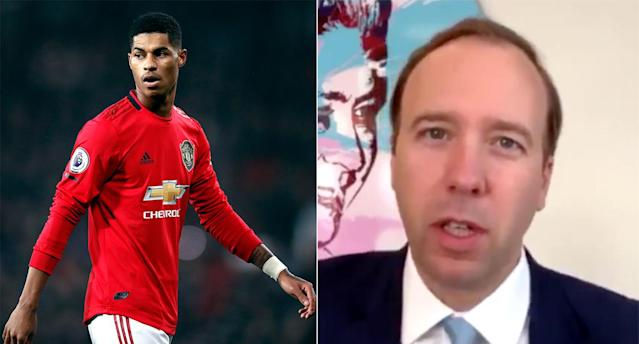 Matt Hancock got Marcus Rashford's name wrong during an interview with Sky News. (PA/Twitter)