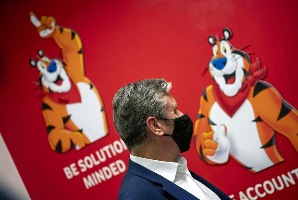 Labour leader Sir Keir Starmer during a visit to the Kellogg's plant in Manchester (Peter Byrne/PA) (PA Wire)