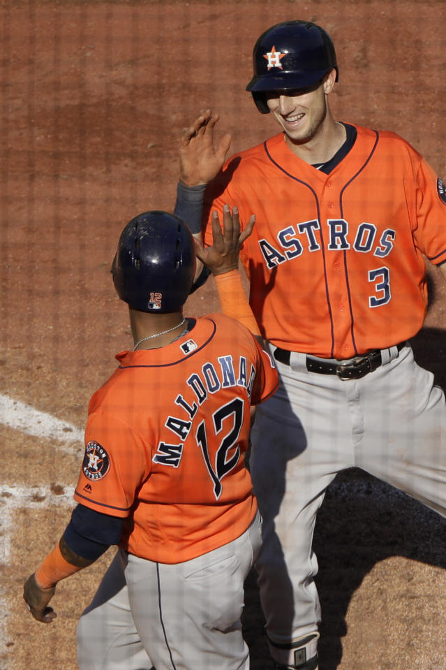 Houston Astros' Kyle Tucker (3) celebrates with Martin Maldonado (12) after hitting a two-run home run during the eighth inning of a baseball game against the Kansas City Royals Sunday, Sept. 15, 2019, in Kansas City, Mo. (AP Photo/Charlie Riedel)