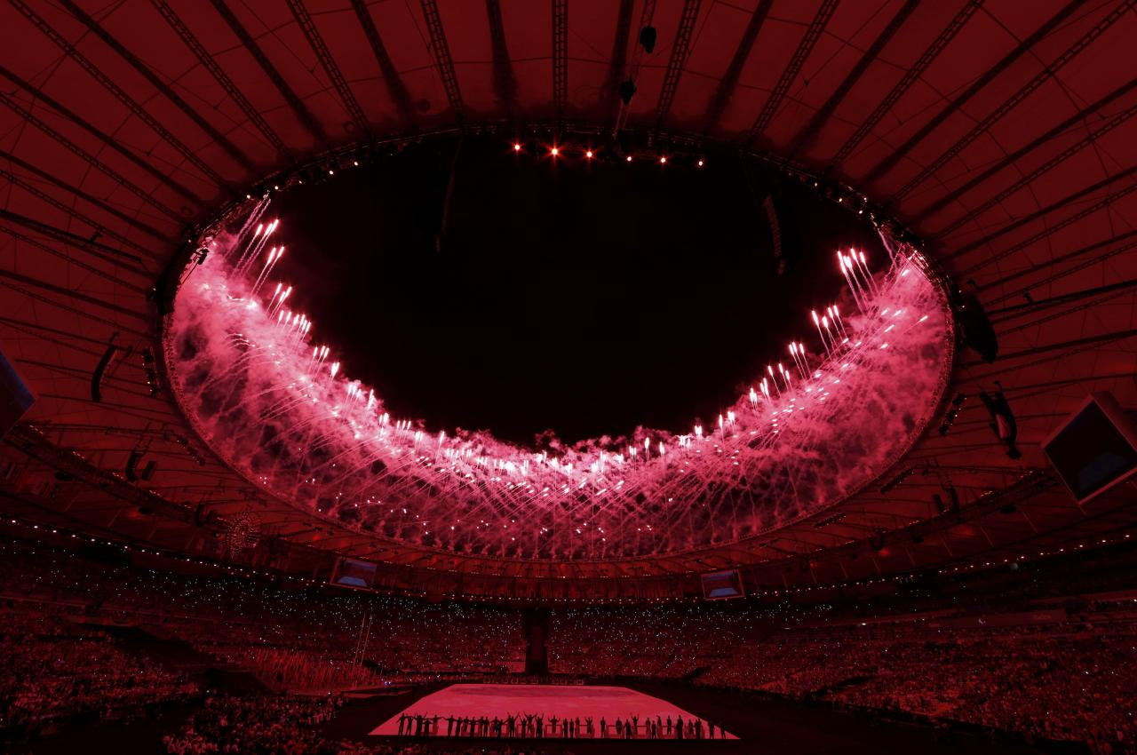 2016 Rio Paralympics - Opening ceremony - Maracana - Rio de Janeiro, Brazil - 07/09/2016. Fireworks erupt during the opening ceremony.   REUTERS/Carlos Garcia Rawlins FOR EDITORIAL USE ONLY. NOT FOR SALE FOR MARKETING OR ADVERTISING CAMPAIGNS.