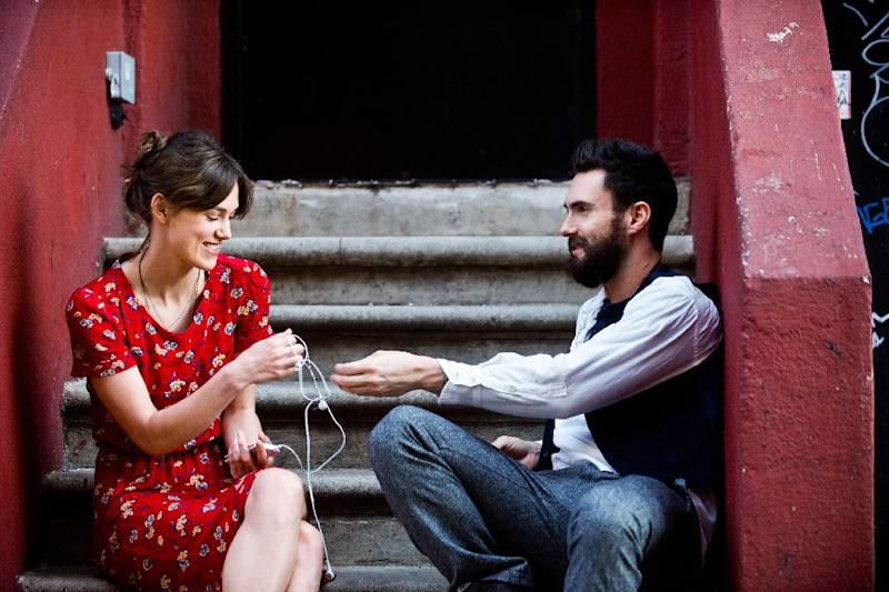 "This image released by The Weinstein Company shows Keira Knightley, left, and Adam Levine in a scene from ""Begin Again.""(AP Photo/The Weinstein Company, Andrew Schwartz)"