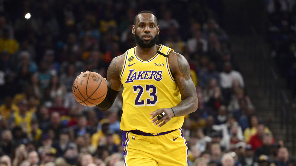 Los Angeles Lakers forward LeBron James (23) plays in the second half of an NBA basketball game against the Memphis Grizzlies Saturday, Feb. 29, 2020, in Memphis, Tenn. (AP Photo/Brandon Dill)