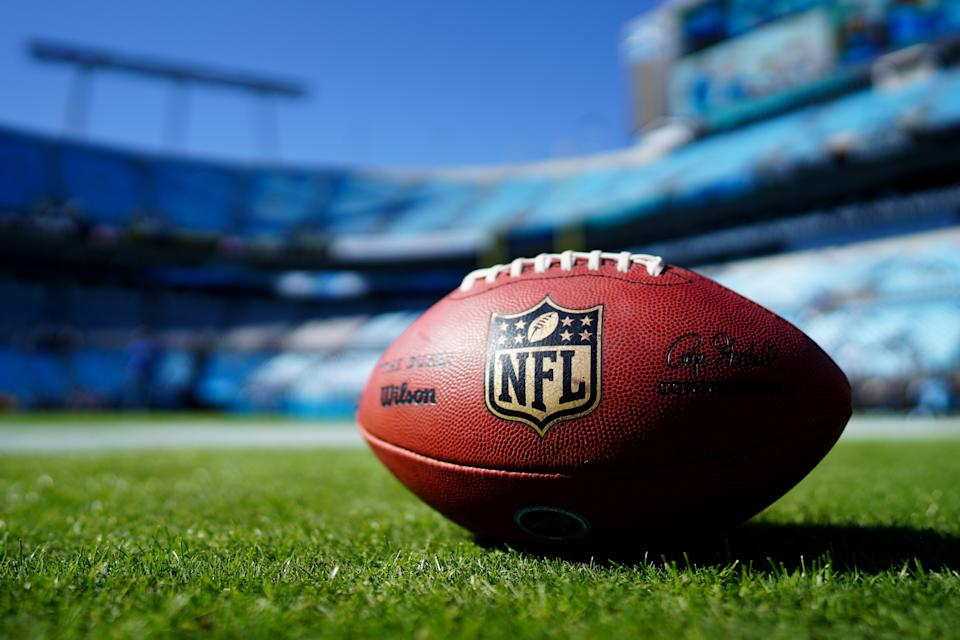 CHARLOTTE, NORTH CAROLINA - NOVEMBER 03: A football with the NFL logo before the game between the Carolina Panthers and the Tennessee Titans at Bank of America Stadium on November 03, 2019 in Charlotte, North Carolina. (Photo by Jacob Kupferman/Getty Images)