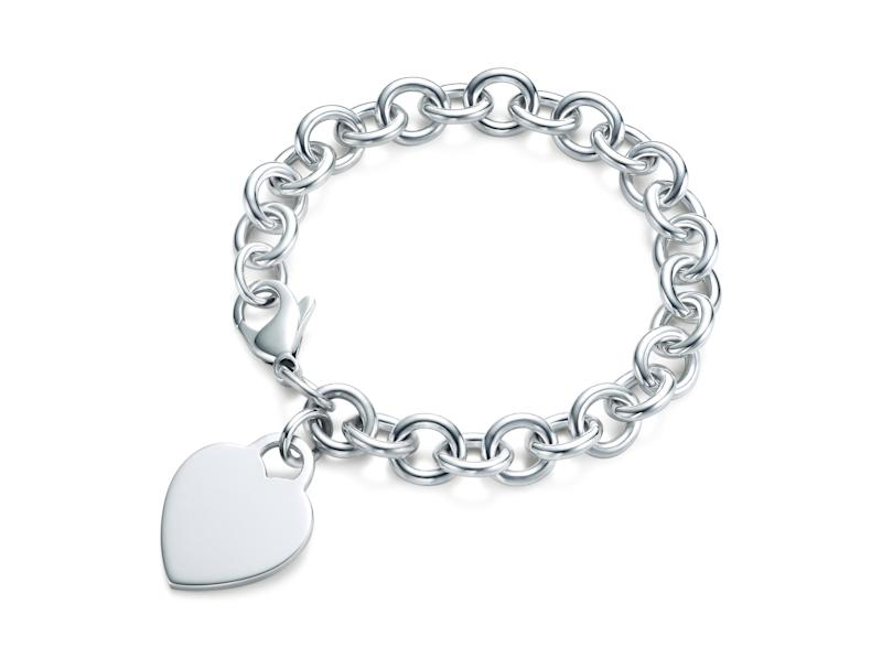 This image released by Tiffany's shows a heart tag bracelet in sterling silver. (AP Photo/Tiffany's)
