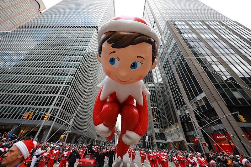 Santa's favorite Scout Elf returns to the Big Apple for another Thanksgiving Day flight of delight! The Elf on the Shelf will be scouting the scene just ahead of the big man himself in the 93rd Macy's Thanksgiving Day Parade. (Photo: Gordon Donovan/Yahoo News)