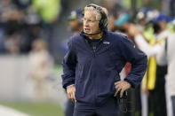 Seattle Seahawks head coach Pete Carroll reacts on the sideline during the first half of an NFL football game against the Los Angeles Rams, Thursday, Oct. 7, 2021, in Seattle. (AP Photo/Elaine Thompson)